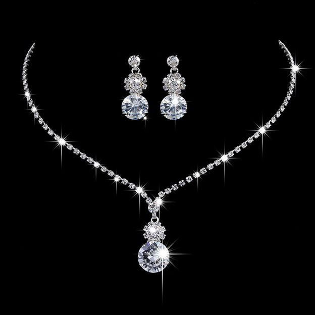 Women's Beautiful Silver Jewelry Sets With Rhinestone For Bride