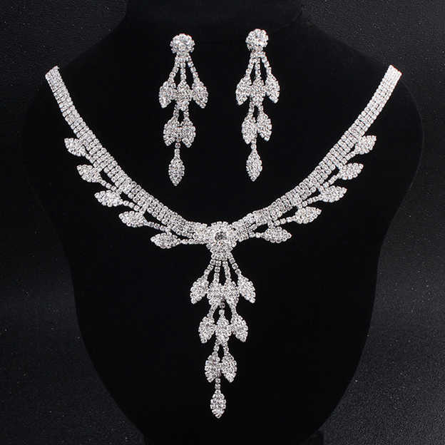 Women's Nice Silver Jewelry Sets With Rhinestone For Bride