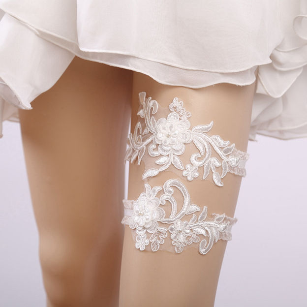 Bridal Elegant Lace Garters With Pearl/Flower