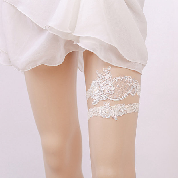 Bridal Elegant Lace Garters With Pearl