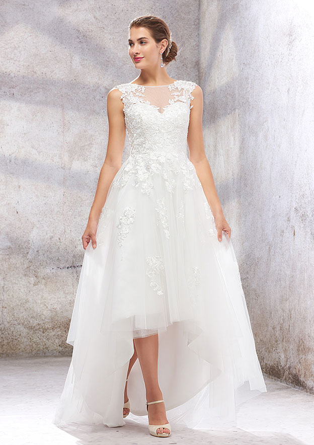 A-line/Princess Sleeveless Asymmetrical Satin/Tulle Wedding Dress With Sequins/Appliqued