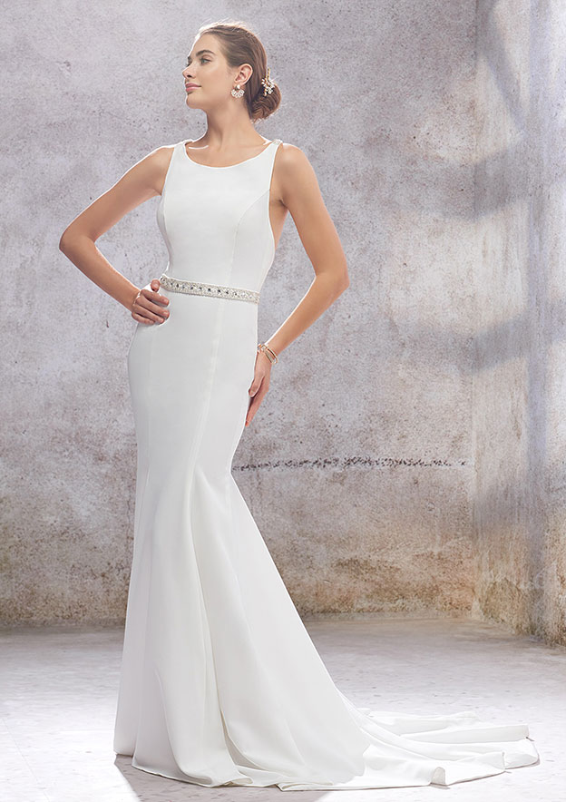 Trumpet/Mermaid Sleeveless Court Train Elastic Satin Wedding Dress With Beading/Sashes