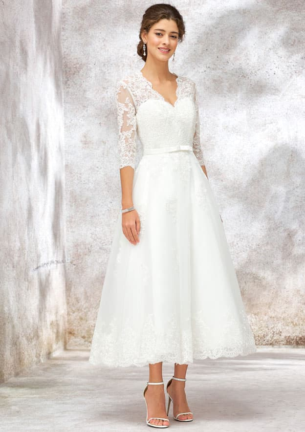 A-line/Princess Half Sleeve Ankle-Length Tulle/Lace Wedding Dress With Sashes