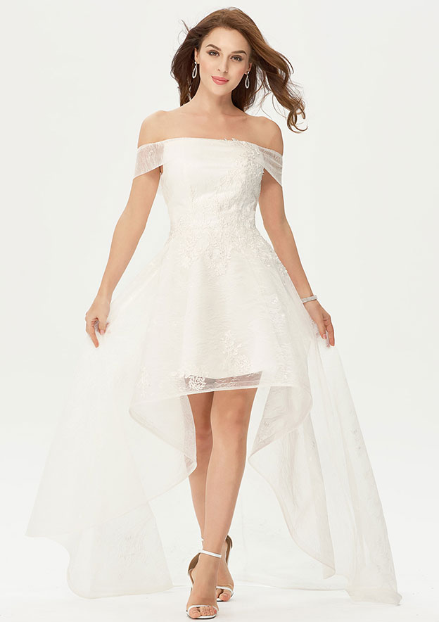 A-line/Princess Off-the-Shoulder Sleeveless Asymmetrical Lace Prom Dress