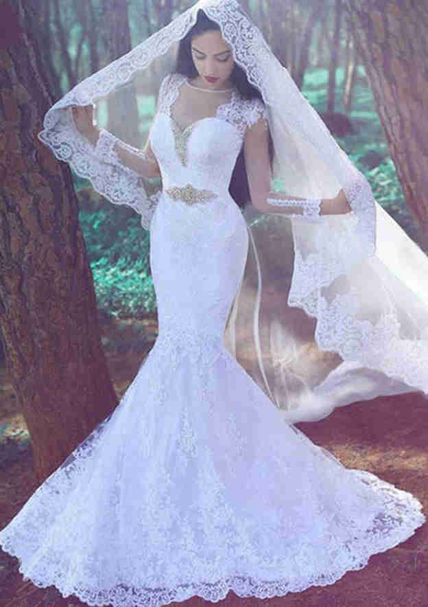 Trumpet/Mermaid Full/Long Sleeve Sweep Train Lace Wedding Dress With Sashes