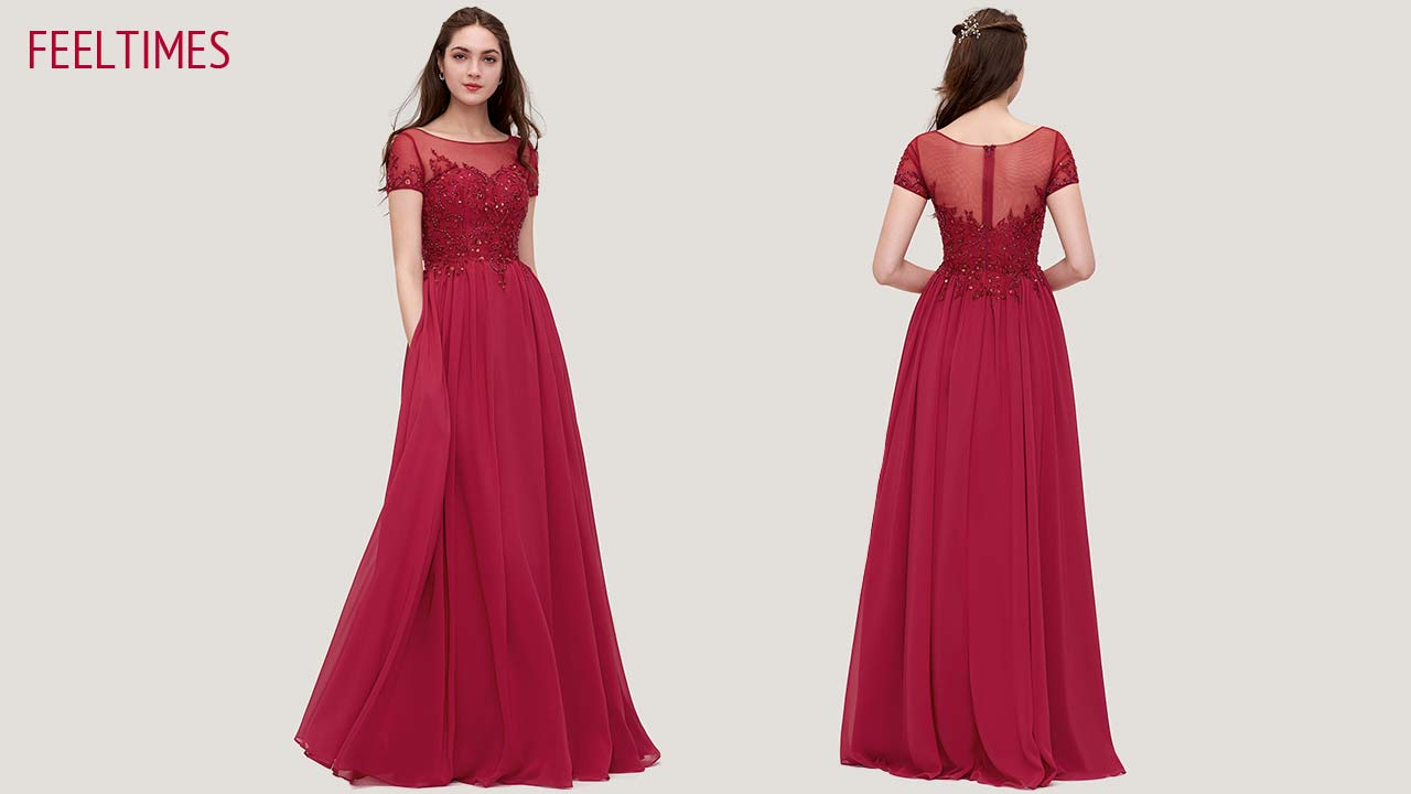 Prom Dresses M18212P丨A-Line/Princess Long/Floor-Length Chiffon Burgundy Prom Dress - FeelTimes