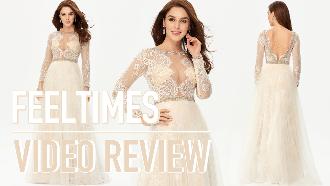 Prom Dress M19279P丨A-line/Princess Ful Sleeve Long Lace Beige Prom Dress With Beading - FeelTimes